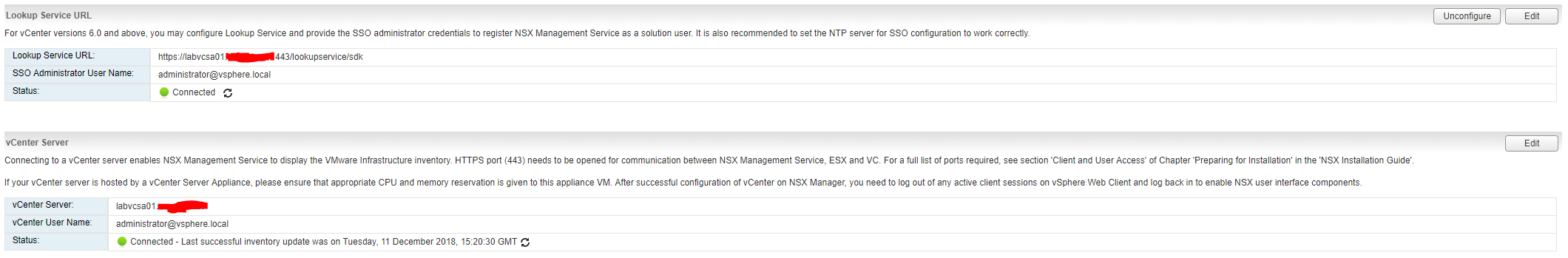 NSX Manager vCenter Connection