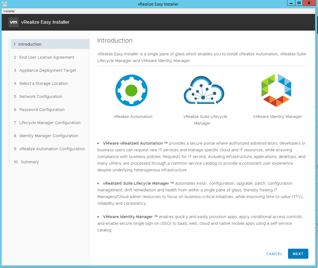 vRealize Easy Installer Page 2