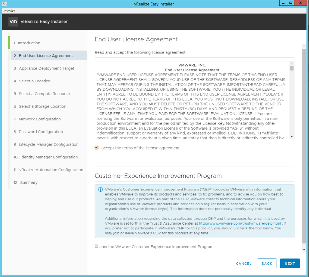 vRealize Easy Installer Page 3