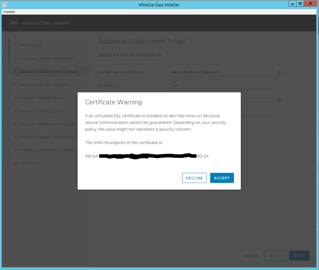 vRealize Easy Installer Accept Certificate