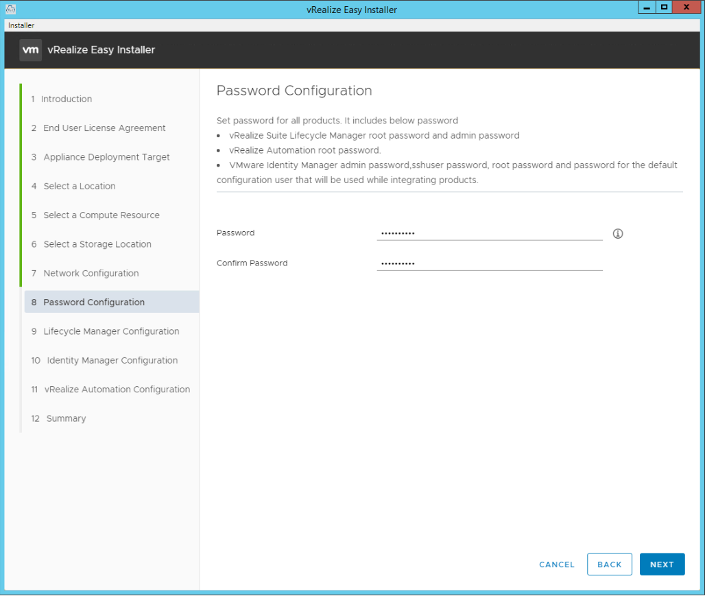 vRealize Easy Installer Page 9