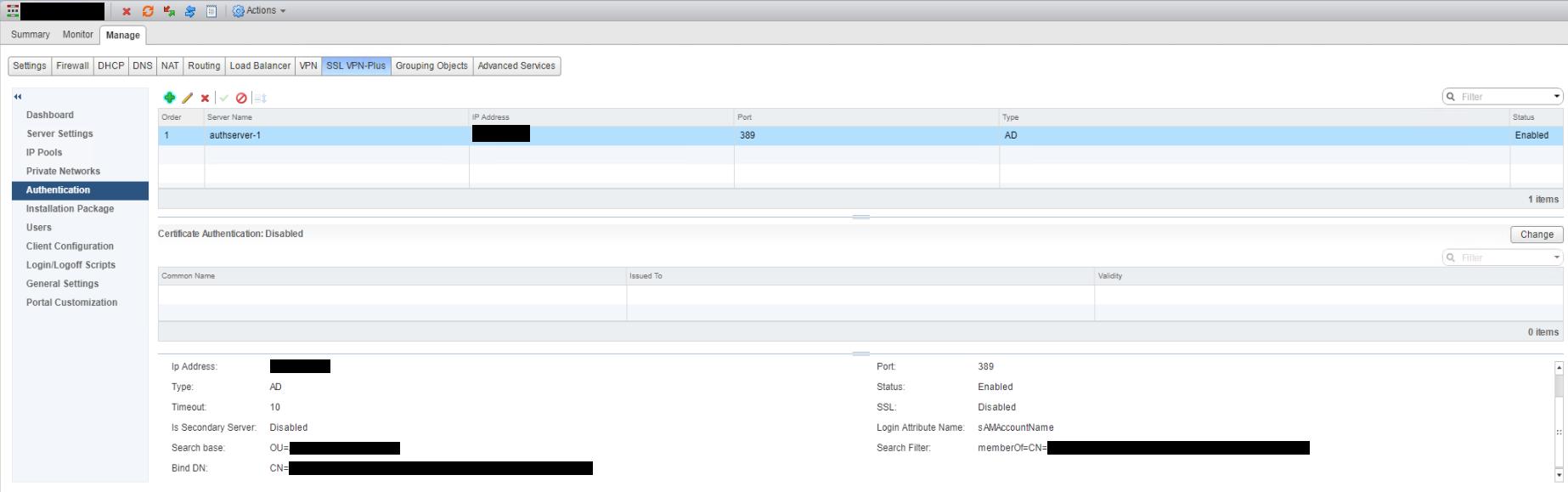 NSX SSL VPN Authentication After