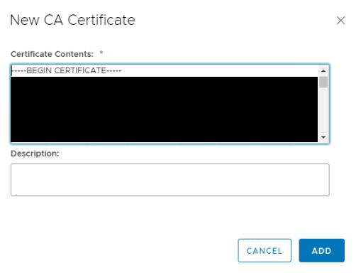NSX SSL VPN Certificates CA