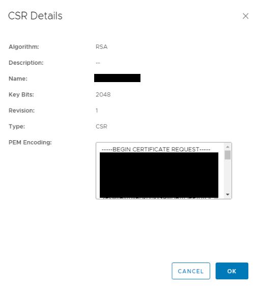 NSX SSL VPN Certificates View CSR