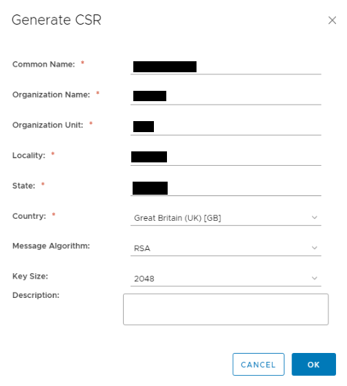 NSX SSL VPN Certificates Generate CSR