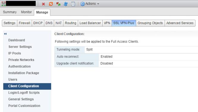 NSX SSL VPN Client Configuration
