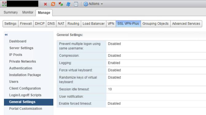 NSX SSL VPN General Settings