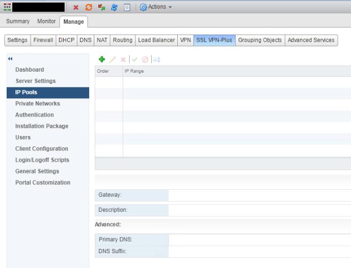 NSX SSL VPN IP Pools Before