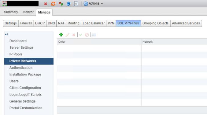 NSX SSL VPN Networks Before