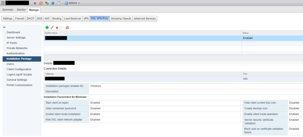 NSX SSL VPN Installation Package After