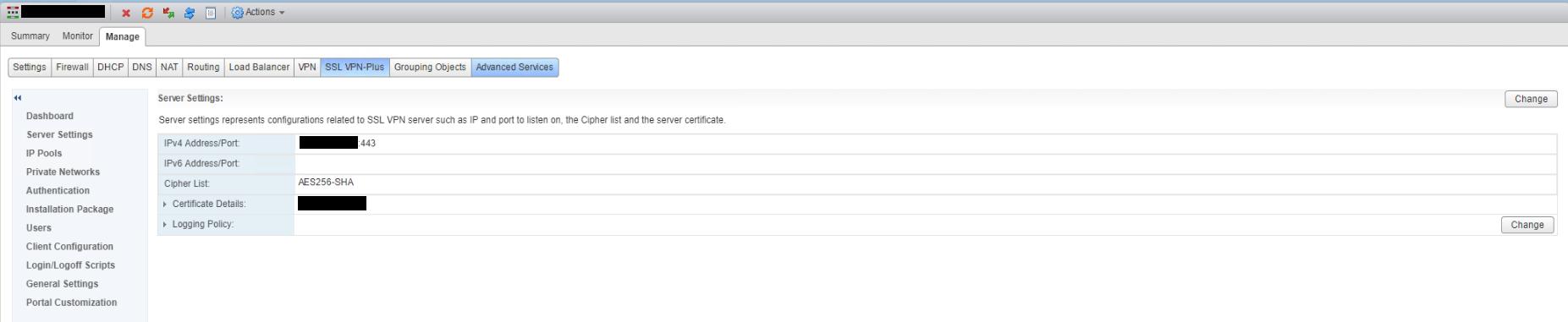 NSX SSL VPN Server Settings After