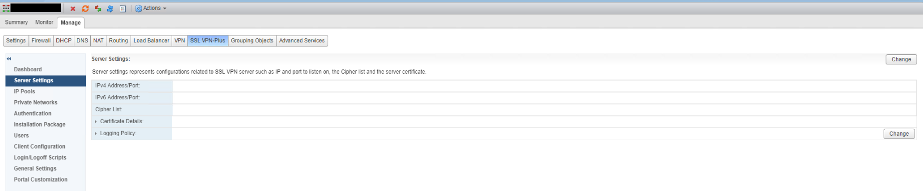 NSX SSL VPN Server Settings Before
