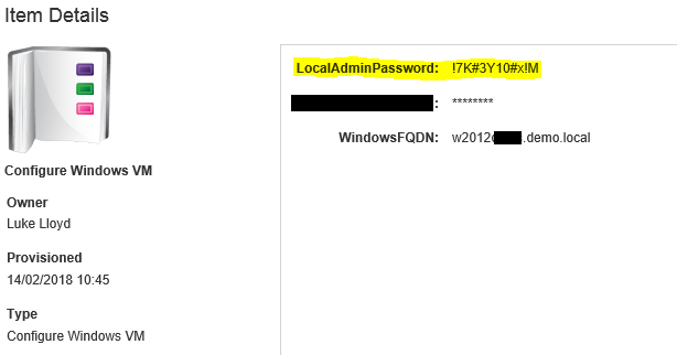 Generated VM password